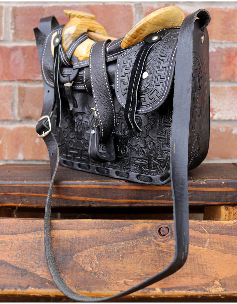 Charro Fuste Saddle Purse Leather Black Bolso