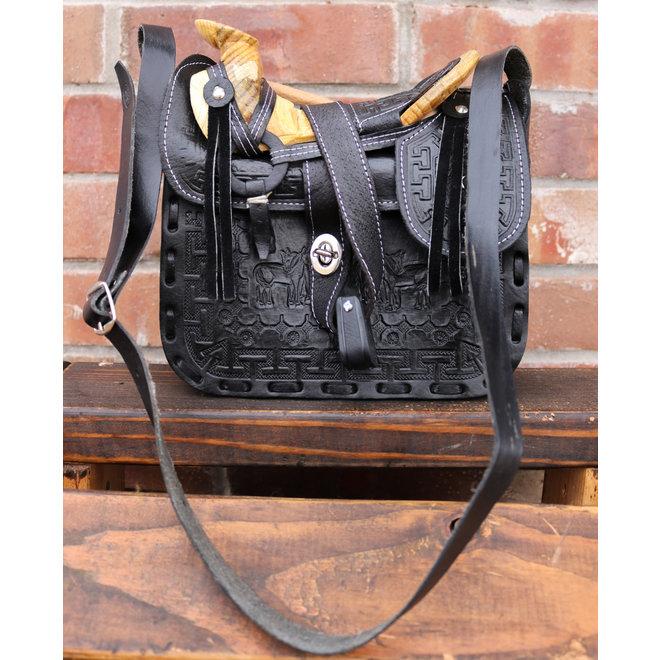 Charro Fuste Saddle Purse Leather Black Bolso