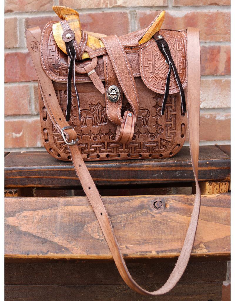 Charro Fuste Saddle Purse Leather Brown Bolso Cafe