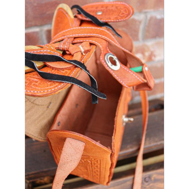 Charro Fuste Saddle Purse Leather Tan Bolso