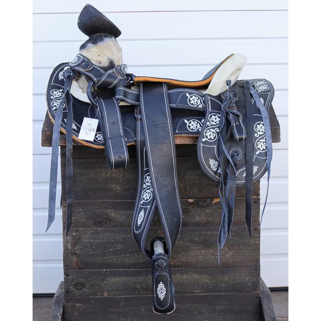 "16"" Montura Negra Pintada Charra Horse Saddle Painted Design"