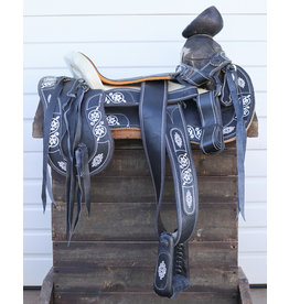 "16"" Montura Negra Pintada Charra Horse Saddle Painted Design"