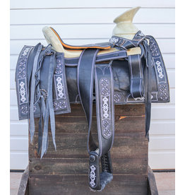 "15"" Montura Negra Horse Charro Saddle Black"