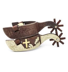 Cowboy At Cross Engraved Spurs Rustic Western Spurs