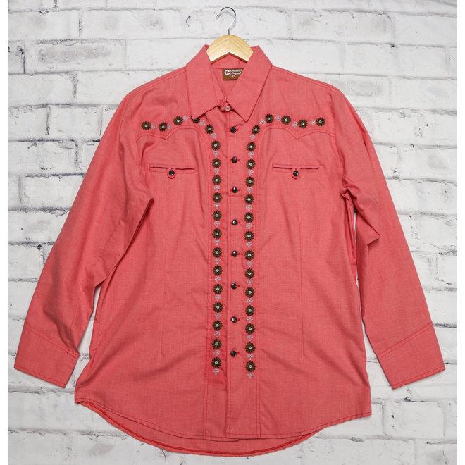 44 (2XL) Red Camisa Charra Diseño Bordada
