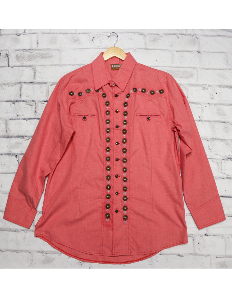 44 (2XL) Red Camisa Charra Diseño Bordada