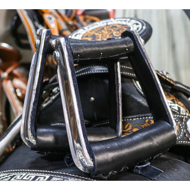 Black Charro Montura Saddle  Leather Stirrups Aluminum
