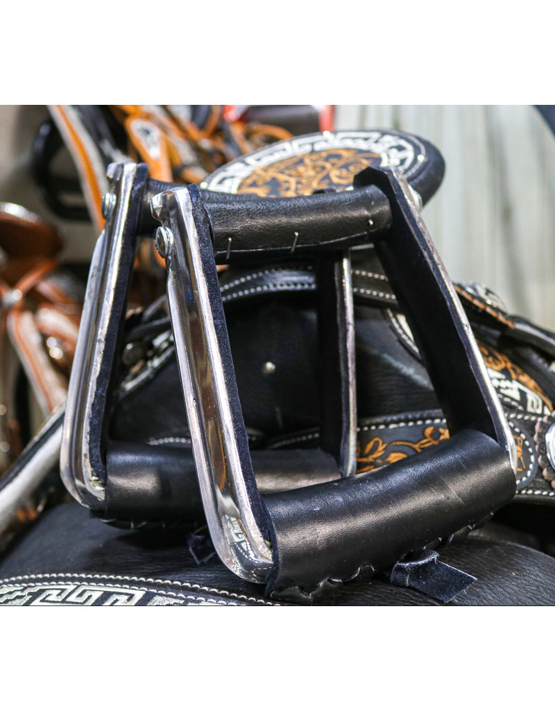 Black Charro Montura Saddle  Leather Stirrups Aluminum