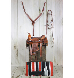 """10"""" Leather Brown Saddle Pony Bridle, Breastcollar, Pad Set"""
