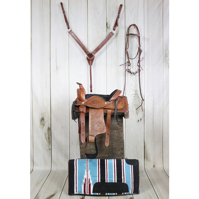 """10"""" Brown Leather Western Pony Saddle Tack Set  And Pad"""