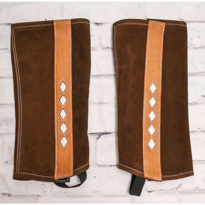 Leather Polainas (L) Charros Brown Leather Chaps