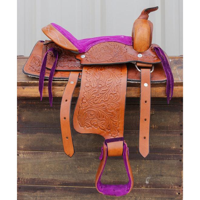 """12""""  Purple Leather Kids Youth Pony Saddle"""