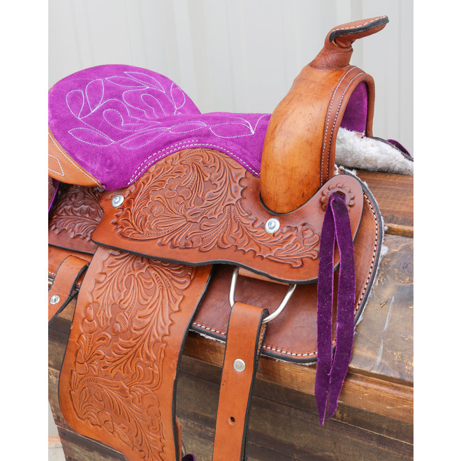 "12"" Purple Kids Youth Pleasure Western Saddle Tan Leather Mini Pony Youth Saddle"