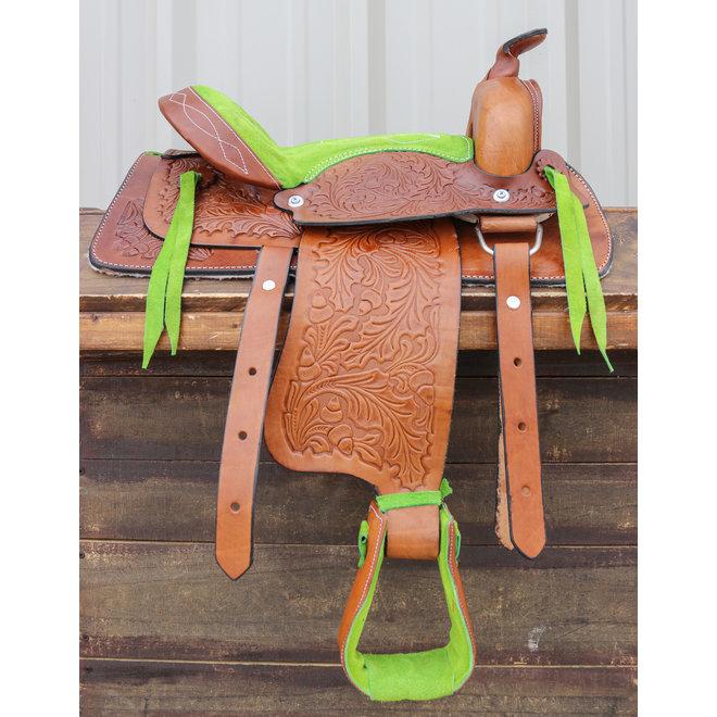 """12"""" Brown Kid Pleasure Western Saddle  Leather Mini Pony"""
