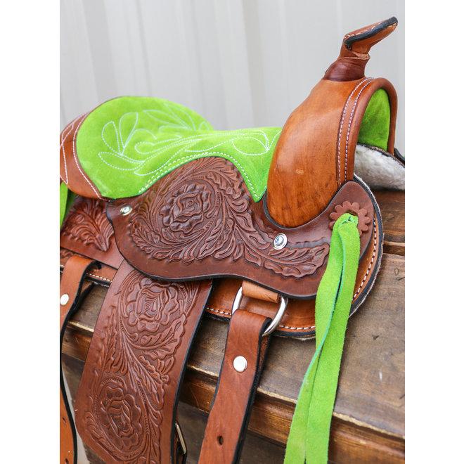 "10"" Lime Green Pony Western Kids Mini Horse Brown Saddle"
