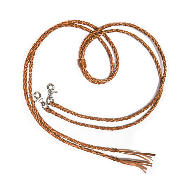 7 Ft Western Leather Braided Split Reins Snaps