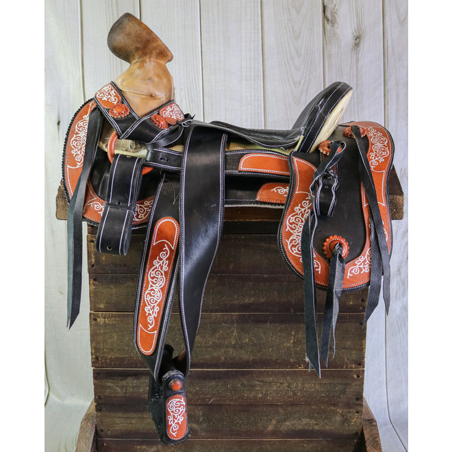 "15.5"" Charra Zurron Montura Horse Charro Black Leather Saddle"