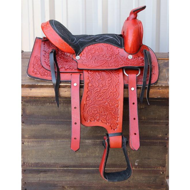 """12"""" Kids Red Youth Pleasure Western Saddle Leather Mini Pony Youth Saddle"""