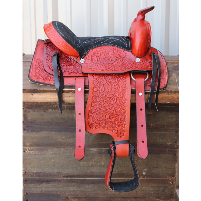 """12"""" Western Red Leather Pony Kids Youth Saddle"""