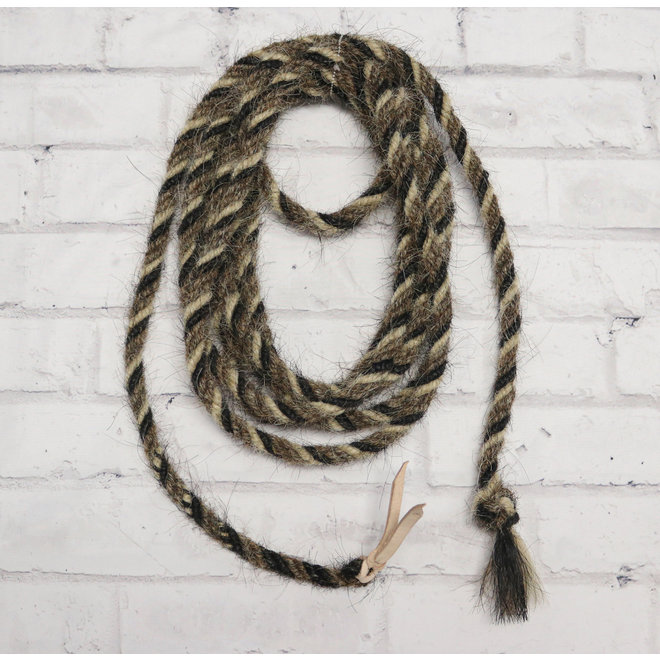 Hand-braided Horse Tail Mecate Reins W/ Leather Popper