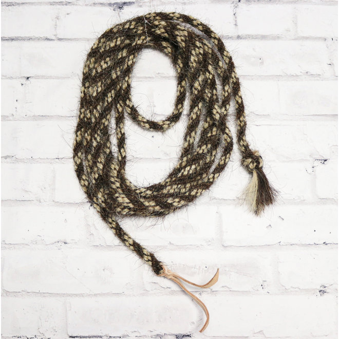 Western Horse Hair Hand-Braided Mecate Reins Leather Popper