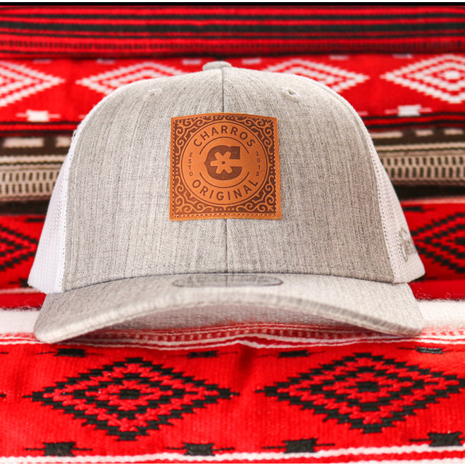 Leather Patch Gris Trucker Curved Hat
