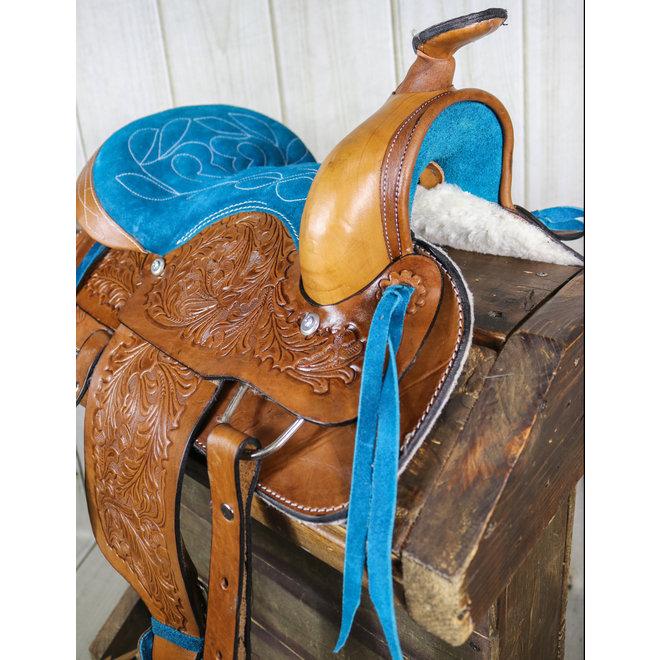 """12"""" Kids Youth Pleasure Western Saddle Blue  Leather Mini Pony Youth Saddle"""