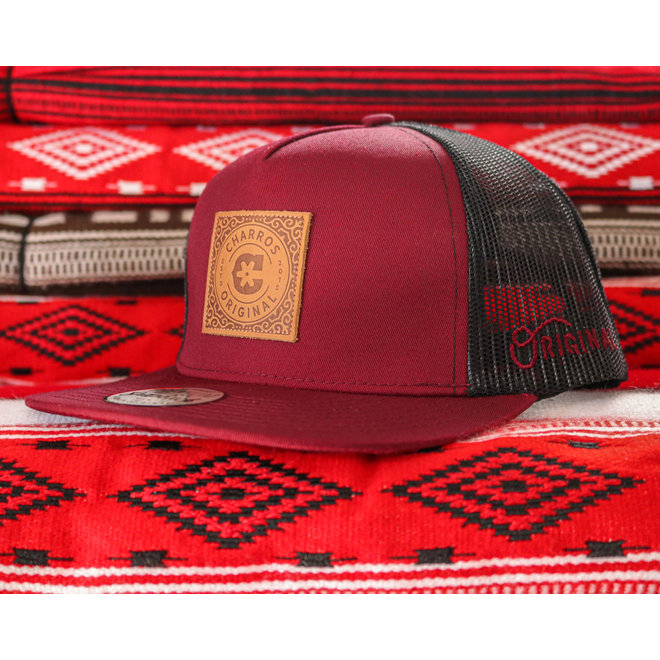 """Leather Patch """"C"""" Maroon Trucker Charros Hat"""
