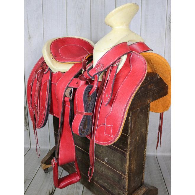 "15.5"" Red Charro Saddlebags Saddle Montura Silla Charra"