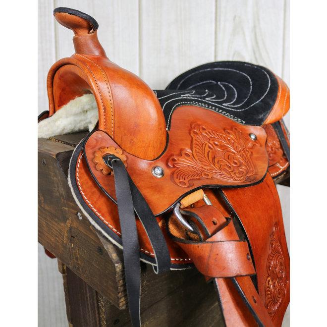 "10"" Pony Mini Horse Saddle Kids Pleasure Leather Black  Western Saddle RD Skirt"