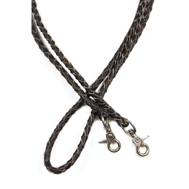 7 Ft Brown Western Leather Braided Roping Reins 4 Plait Snap