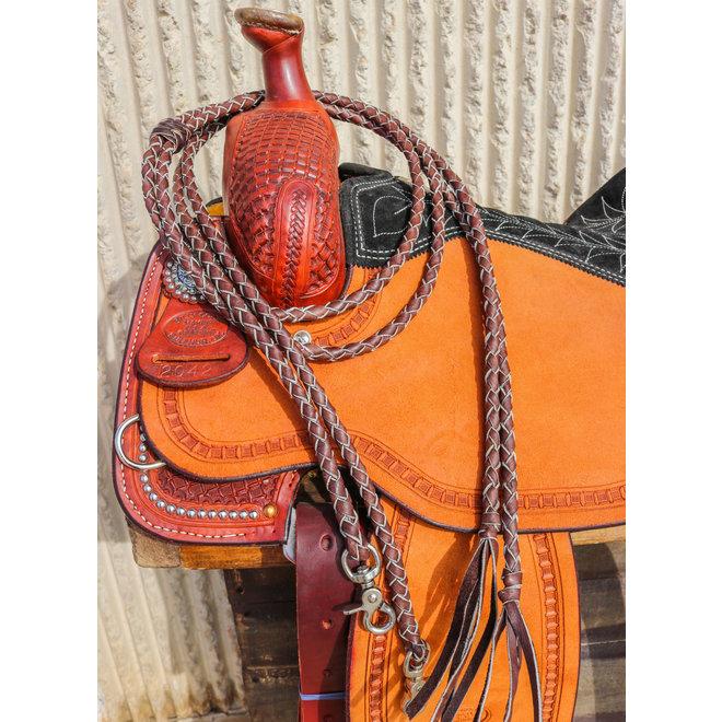 7 Ft Brown Western Leather Braided Split Reins Snaps