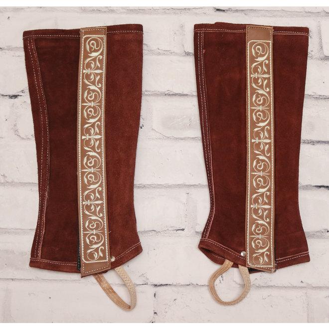 Medium Chedron Charro Leather Polainas Half Chaps