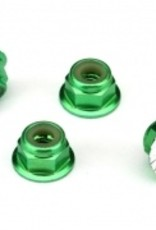 Traxxas Nuts, aluminum, flanged, serrated (4mm) (green-anodized) (4)