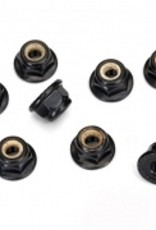 Traxxas Nuts, 4mm flanged nylon locking, serrated (black) (10)