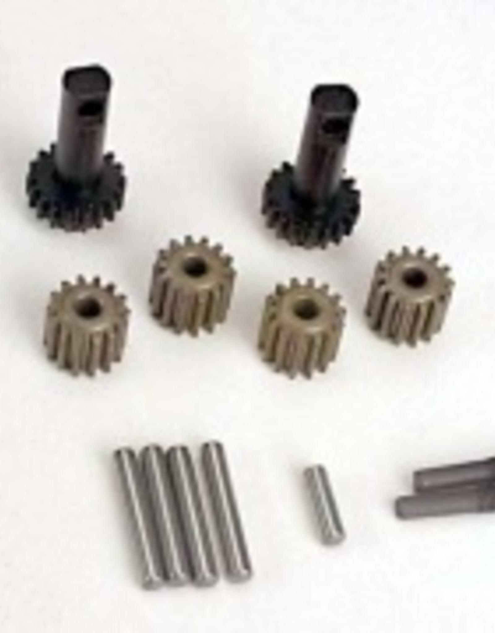 Traxxas Planet gears (4)/ planet shafts (4)/ sun gears (2)/sun gear alignment shaft (1) all hardened steel