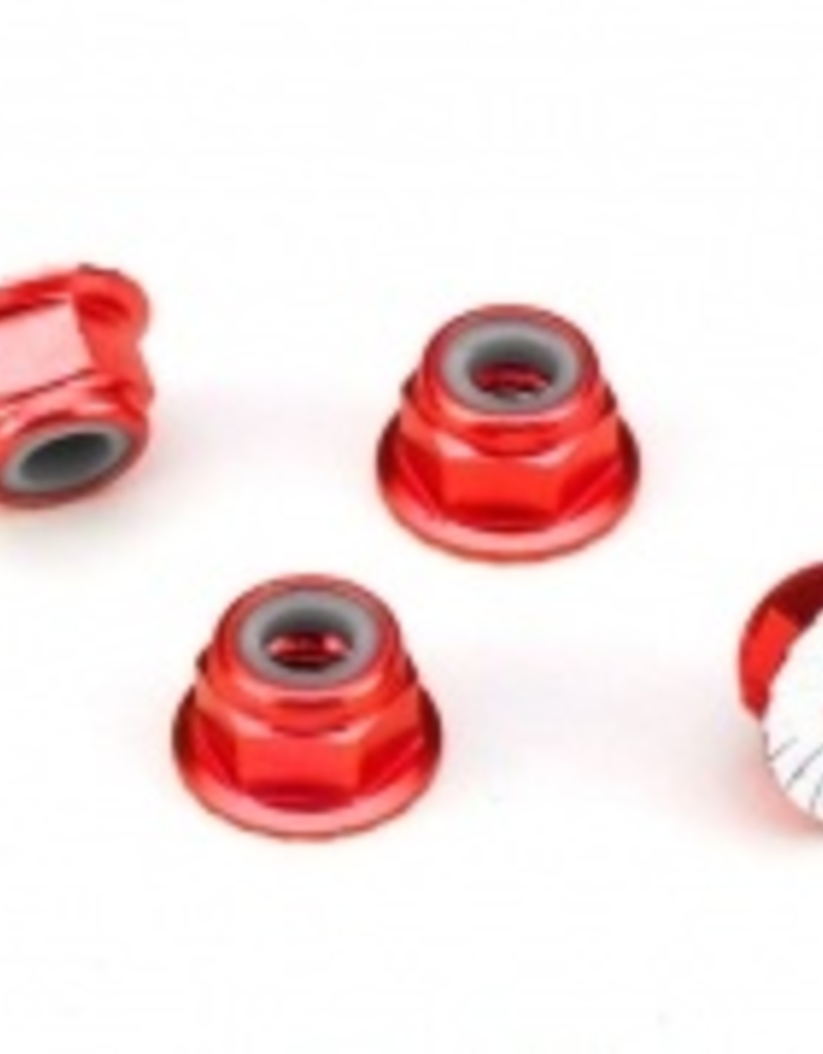 Traxxas Traxxas  Wheel Nuts, aluminum, flanged, serrated (4mm) (red-anodized) (4)