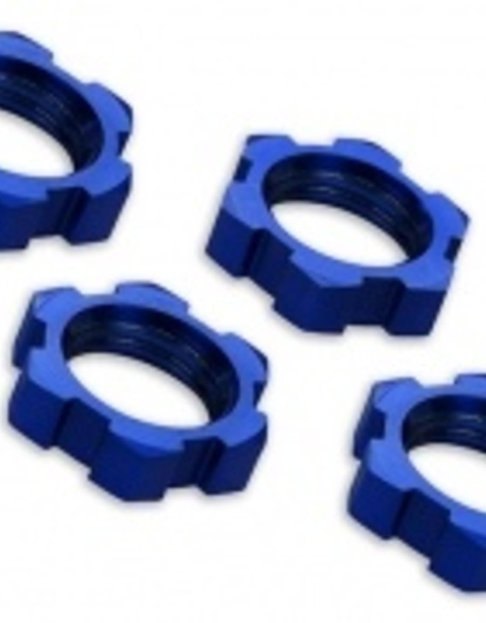 Traxxas Traxxas Wheel nuts, splined, 17mm, serrated (Blue-anodized) (4)