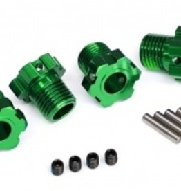 Traxxas Traxxas Wheel hubs, splined, 17mm (green-anodized) (4)/ 4x5 GS (4)/ 3x14mm pin (4)