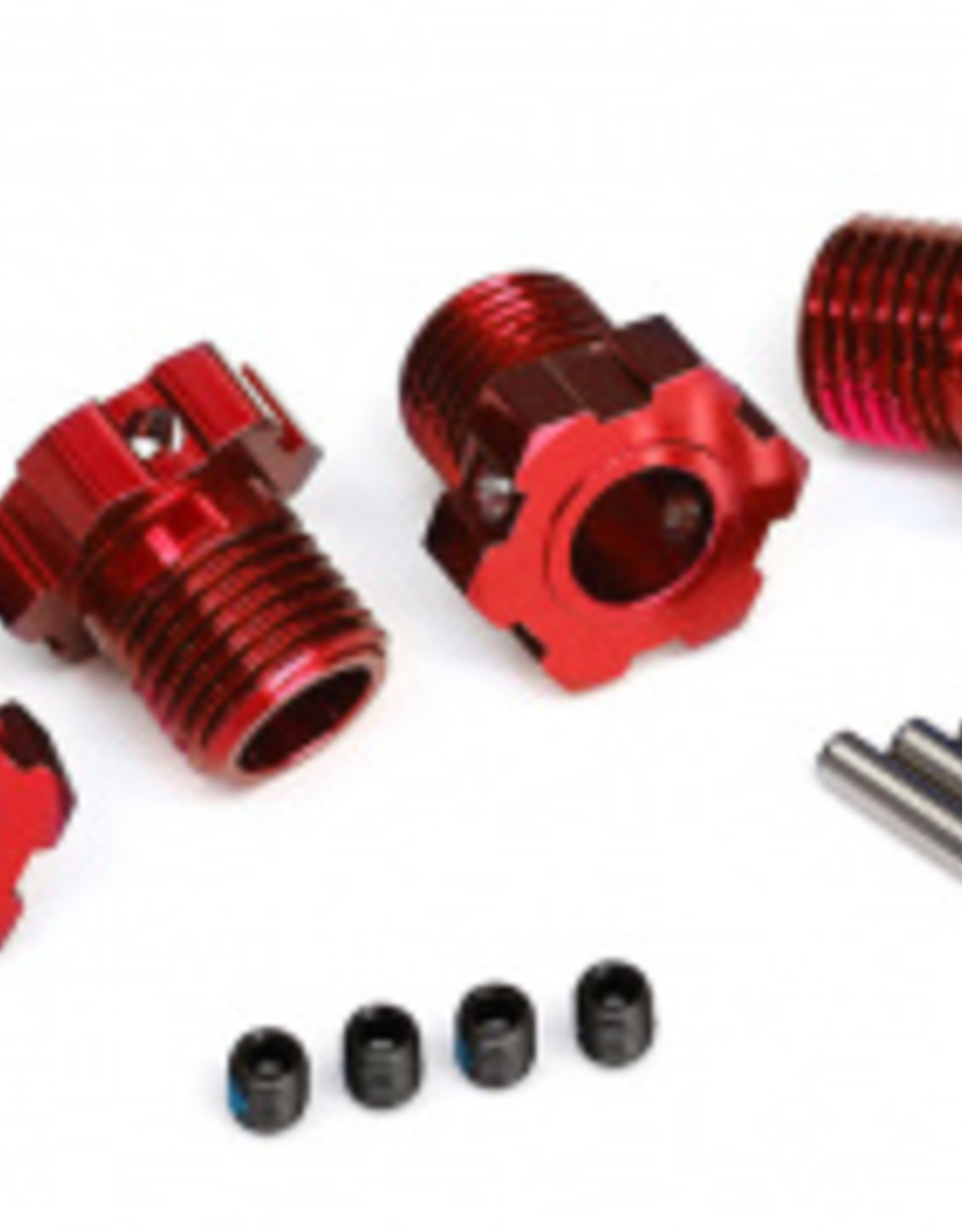 Traxxas Traxxas Wheel hubs, splined, 17mm (red-anodized) (4)/ 4x5 GS (4)/ 3x14mm pin (4)