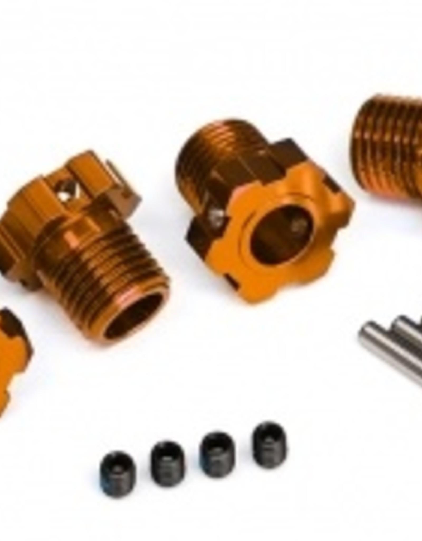 Traxxas Traxxas Wheel hubs, splined, 17mm (orange-anodized) (4)/ 4x5 GS (4)/ 3x14mm pin (4)