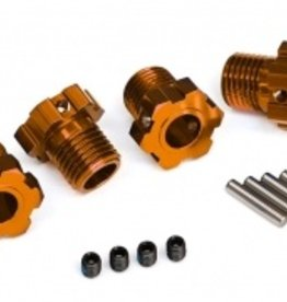 Traxxas Traxxas Wheel hubs, splined, 17mm (orange-anodized) (4)/ 4x5 GS (4)/ 3x14mm pin (4)
