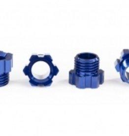 Traxxas Traxxas TRX Traxx Stub axle nut, aluminum (blue-anodized) (4)