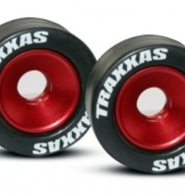 Traxxas Traxxas Wheels, aluminum (red-anodized) (2)/ 5x8mm ball bearings (4)/ axles (2)/ rubber tires (2)