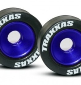 Traxxas Traxxas Wheels, aluminum (blue-anodized) (2)/ 5x8mm ball bearings (4)/ axles (2)/ rubber tires (2)