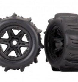 "Traxxas Traxxas E-Revo Tires & wheels, assembled, glued (black 3.8"" wheels, paddle tires, foam inserts) (2) (TSM rated)"