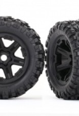 Traxxas Traxxas E-Revo Tires & wheels, assembled, glued (black wheels, Talon EXT tires, foam inserts) (2) (17mm splined) (TSM rated)