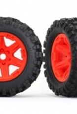 Traxxas Traxxas E-Revo Tires & wheels, assembled, glued (orange wheels, Talon EXT tires, foam inserts) (2) (17mm splined) (TSM rated)
