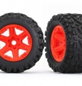 Traxxas Traxxas E-Revo Tires & wheels, assembled, glued (orange wheels, Talon EXT tires, foam inserts) (2) (17mm splined) (TSM rated)