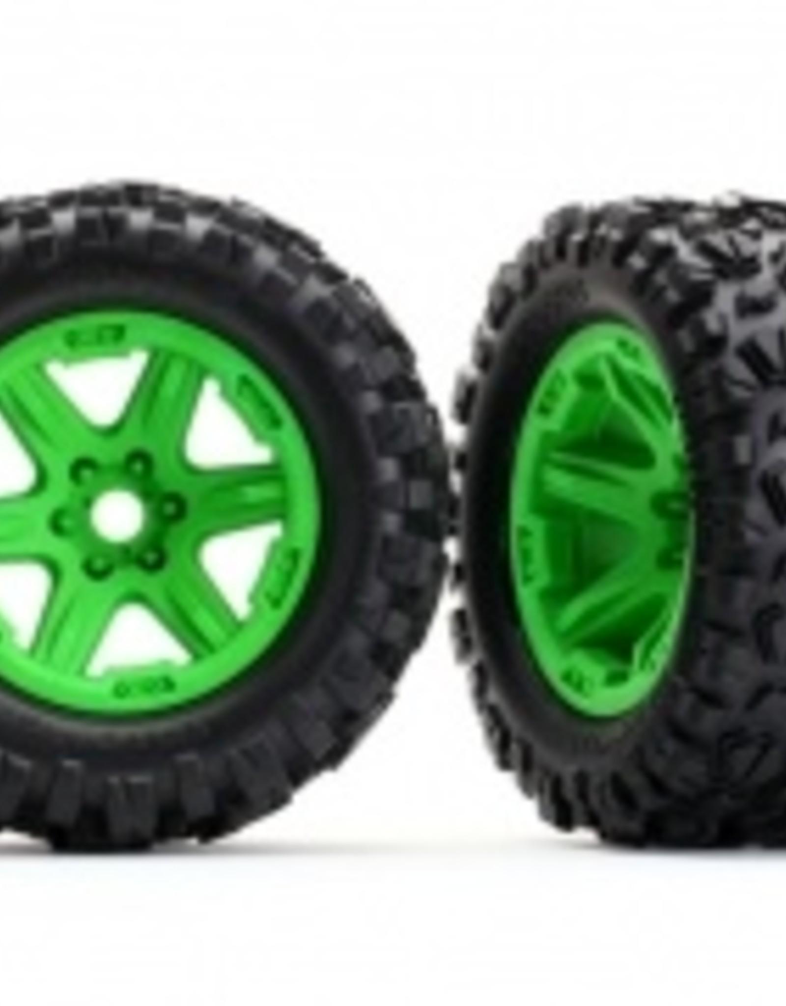Traxxas Traxxas E-Revo Tires & wheels, assembled, glued (green wheels, Talon EXT tires, foam inserts) (2) (17mm splined) (TSM rated)